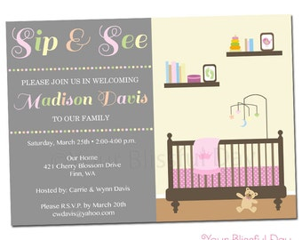 PRINTABLE Sip & See Baby Girl Party Invitation #210