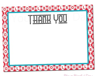 PRINTABLE Retro Bowling Party Thank You Cards #112