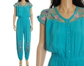 RESERVED - Vintage 80s Teal Jumpsuit - Crochet Cutout Embroidered High Waist Floral Romper Pantsuit - L