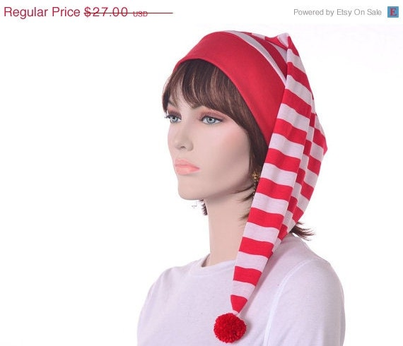 ChristmasinJuly Sale Red White Striped Stocking Cap Cotton Sleep Hat Night Cap Elf Hat to Sleep In
