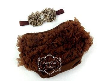 Brown Chiffon Ruffle Bloomer and Double Leopard Shabby Chic Headband Set - Baby Photo Prop Set - Newborn Photo Prop Set - Baby Gift Set