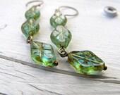 Etched Diamond Dangle Earrings, Blue Green Czech Glass, Geometric, Beach