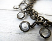 Winter White Czech Lucite Circlet Necklace: Vintage Style Faceted Charms, Blackened Brass Chain
