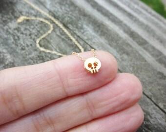 Tiny Gold Vermeil Skull Necklace-Skull Necklace-Tiny Skull Neckalce-Baby Skull Necklace-Skull Pendant Necklace-Mini Skull Charm Necklace