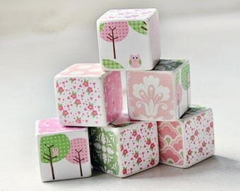 Decorative Wooden Blocks pink and green owls