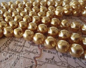 10mm Antique Gold Baroque Pinched Czech Glass Pearl Beads - 20 pcs - Shabby Vintage Style - Central Coast Charms