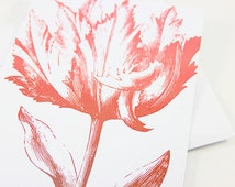Red Woodcut Tulip Thank You Card / Note Card and Envelopes - Set of 12
