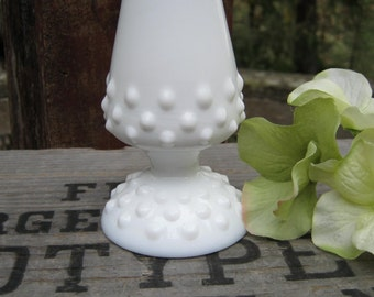 Fenton Milk Glass Hobnail Bud Vase - White Milk Glass - Wedding Decor - Oak Hill Vintage