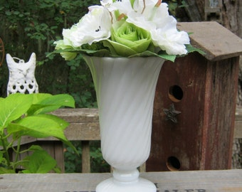 White Milk Glass Vase in Swirl Pattern - Pedestal Base - Wedding Centerpiece - Oak Hill Vintage