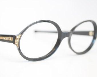 Unused Oval Black Rhinestone Cat Eye Glasses Cateye Frames Vintage Eyewear 1960s Eyeglasses New Old Stock