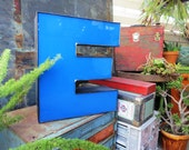 Vintage Marquee Sign Letter Capital 'E': Large Azure Blue Wall Hanging Initial -- Industrial Neon Channel Advertising in Excellent Condition