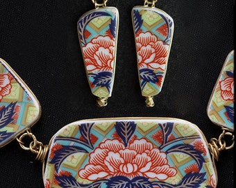 Vintage Porcelain Japanese Lotus Jewelry Necklace & Earrings