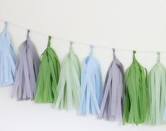 Green and Blue Birthday Garland - Tissue Paper Tassel Garland Kit - The Flair Exchange