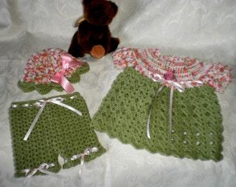 Pistachio and Pink 3 Piece Dress Set