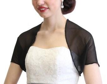 Black Chiffon Jacket, Black chiffon shrug, Black bridal bolero 810Ch-BLK