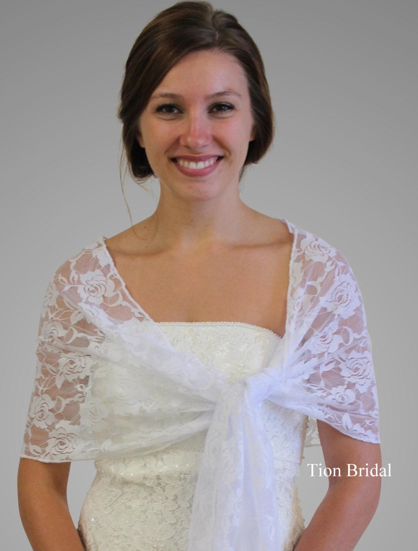 lace bridal shawl wedding wrap prom scarf white on by