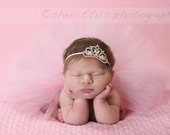 Newborn Pink Tutu and Headband Set - Princess Baby Tutu - Tiara and Tutu Newborn Outfit - First Photo
