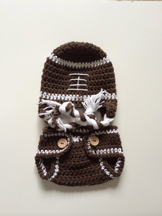 Crochet Football Hat and Diaper Cover crochet newborn football hat newborn photography prop baby football hat
