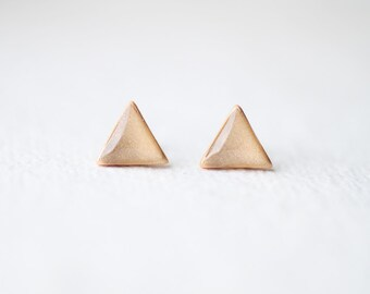Geometric Triangle Pale Gold Shimmer Stud Earrings, Sparkling earrings
