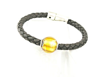 Brown braided leather bracelet with murano venice bead