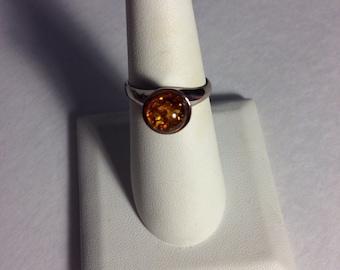 Vintage Amber Dot Ring