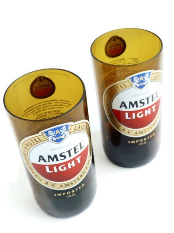 Beer Bottle Drinking Glasses Amstel Light Tumblers Set Of 2