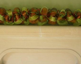 Fall Garland, Mantle Decor, Autumn Garland, Fall Mesh Garland, Burnt Orange Moss Green - Item 865