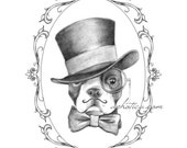 boston terrier gentleman in top hat and bow tie original art print 8x10
