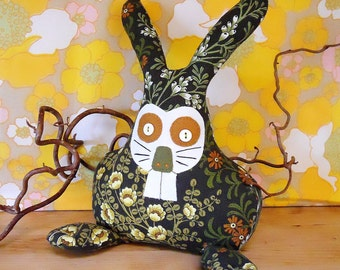 Retro Bunny Rabbit in 70s Brown Floral Vintage Fabric