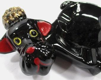 Black Poodle Dog Ashtray, Soap, Ring, Key Dish