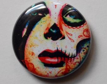 1 inch Pin Back Button - Dead Inside - Day of the Dead Sugar Skull Lady Pop Art Portrait Pinback Button Accessory