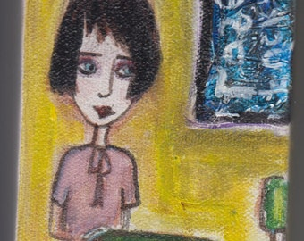 """Original painting 3"""" x 5"""" girl at a cafe.  Lemon Yellow, green furniture~ free shipping within North America!"""