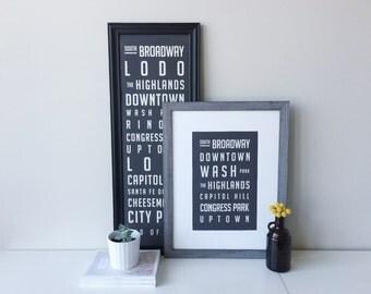Denver Neighborhood Poster  /   Medium - 11 x 17 inches