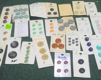 1/2 Price -Lot Of 25  Full Carded Buttons - Lot 6 - Sewing Notions