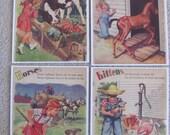 Childrens Book Plate Print - Illustration by Florence Sarah Winship - Farm Animals Calf Colt Kitten Horses
