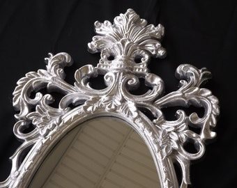 Ornate Mirror ,Hollywood Regency, Shabby Chic, Oval  Mirror, Shown in Aluminum Silver., Wall Mirror or Choose Color 41 x 18