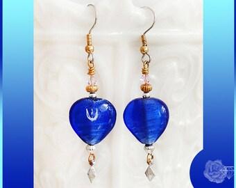 Hook Earrings Blue Lampwork Hearts Clear Swarovski Crystal Bicones Mixed Metal Dangle Earrings TierraCast Silver Pewter Dbl Diamond Dangles
