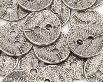 Button-16mm Pewter-Two Sided Leaf Design-Antique Silver-Quantity 4