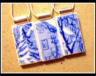 Cozy Winter Home - RECYCLED Broken CHINA PLATE Friendship Necklace Set