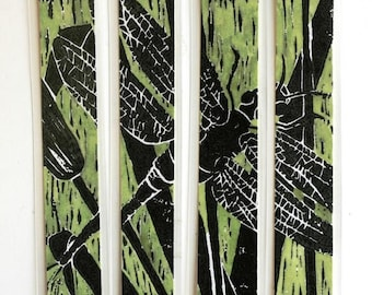 """Green Dragonfly laminated bookmarks 1.5"""" x 8.25"""" set of 4 linocut watercolor green black"""