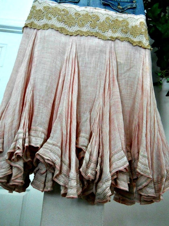 Petite Ballerine bohemian jean skirt  mauve beige ruffles ballerina mermaid faerie goddess Renaissance Denim Couture