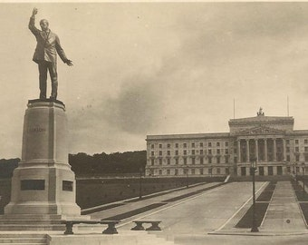 Northern Ireland Parliament House BELFAST With Statue of Lord Carson Unused RPPC Real Photo Postcard