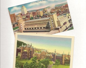 MONTREAL Quebec Pair of Unused Vintage Postcards City Architecture CNR Station and Royal Victoria Hospital