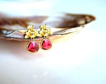 Fuchia Swarovski Earrings:Gold plated brass earring hooks with fuchsia swarovski crystal gold plated leaf studs earring, wedding, bridesmaid
