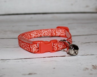 Neon Orange Cat/Kitten Collar- Adjustable and Breakaway