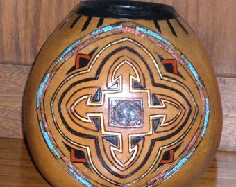 African Cross Design on Gourd