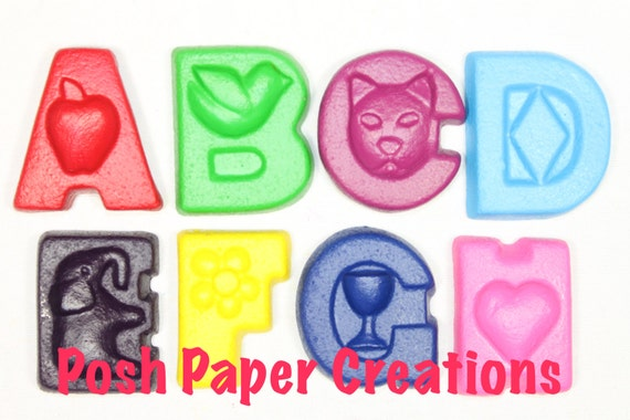 Fun letter crayons - eight (8) - assorted colors