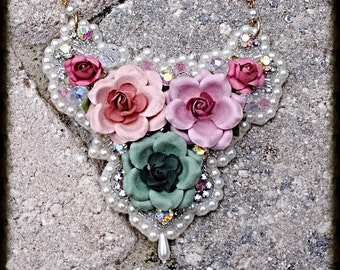 Floral Crystal and Pearl embellished Bib Necklace
