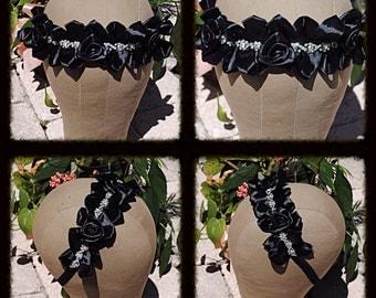 Sale Satin Black Floral Rose Crystal AB trim Headband