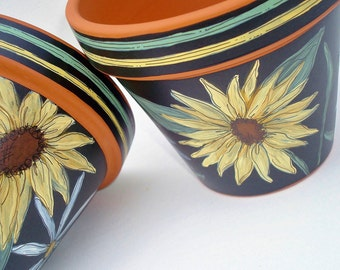 """Hand Painted Pot 4 Inch """"Sunflowers""""-Made to Order"""